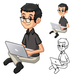 Geek with Glasses Playing a Notebook and Sit Pose vector image