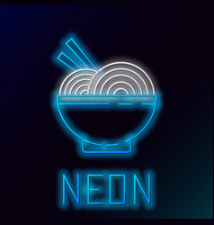 glowing neon line asian noodles in bowl vector image