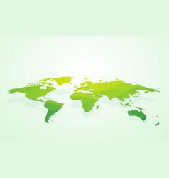 green blank world map fake3d vector image