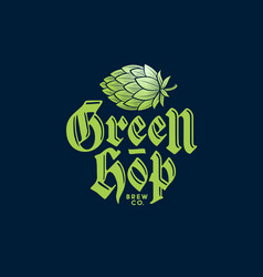 green hop cone logo brewing company pub label vector image