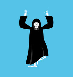 grim reaper yoga death yogi skeleton in black vector image