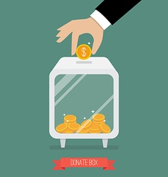 Hand insert coin into donate box vector