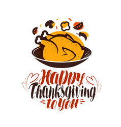 happy thanksgiving to you greeting card vector image