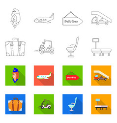 isolated object airport and airplane sign vector image