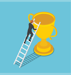 isometric businessman climbs up ladder to the vector image