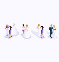 isometry of a man and woman at the wedding the vector image