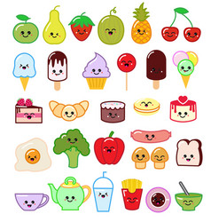 kawaii food emoticon japanese fruit or vector image