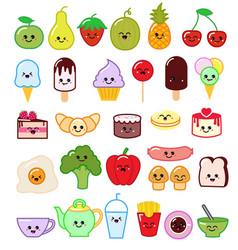 Kawaii food emoticon japanese fruit vector