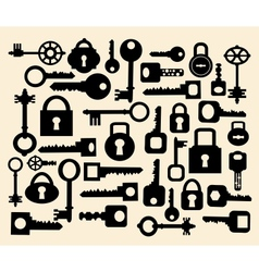 Keys and locks vector