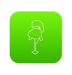 knight helmet icon green vector image