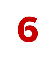 logo number 6 red vector image