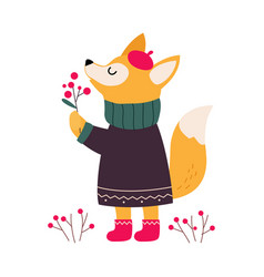 lovely fox in winter clothes cute xmas animal vector image