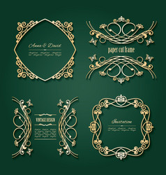 Luxury golden frames and labels set vector
