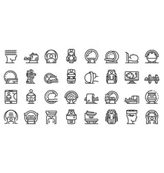 Magnetic resonance imaging icons set outline vector