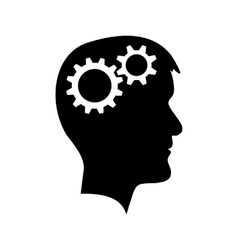 Man head with gear wheel vector image