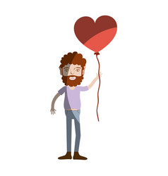 man with beard and heart balloon in the hand vector image