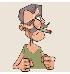 menacing cartoon mustached man with a cigarette vector image
