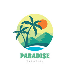 paradise vacation - concept business logo vector image