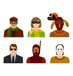 People in masks and glasses vector
