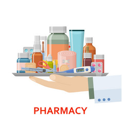 Pharmacy background different medical pills vector
