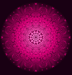 pink and purple vintage round pattern over dark vector image