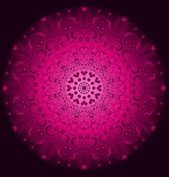 Pink and purple vintage round pattern over dark vector