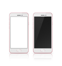 Pink rose color mobile phone with blank and dark vector