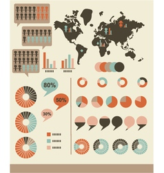 Retro infographics and UI elements vector