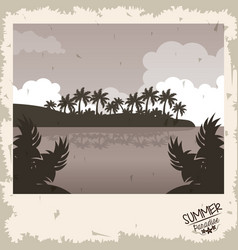 Sepia color poster sunset landscape of palm trees vector