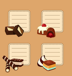 set of stickers with cartoon chocolate vector image