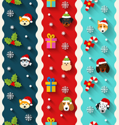 set seamless vertical wallpaper with heads dogs vector image