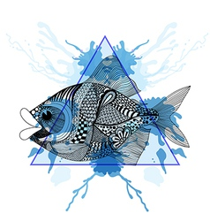 Sketch Zentangle Fish in triangle frame with vector image