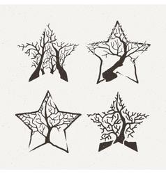 Star trees set Pattern vector image