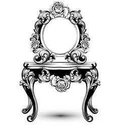 Stylish console table and mirror frame with rose vector