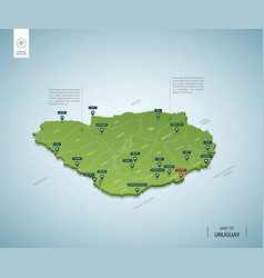 Stylized map uruguay isometric 3d green map vector