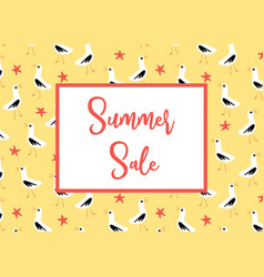 summer sale banner with seagulls pattern vector image