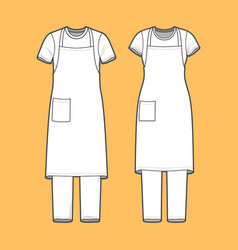 T-shirt apron and pants set vector