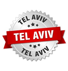 Tel aviv round silver badge with red ribbon vector