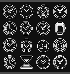 time and clocks icons set on black background vector image