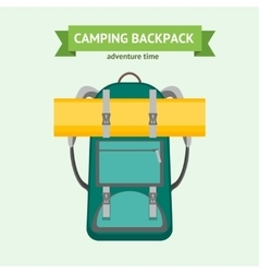 Tourist Camping Backpack Card vector image vector image