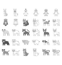 toy animals monochromeoutline icons in set vector image