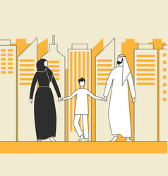 traditional arab family muslim man woman and child vector image
