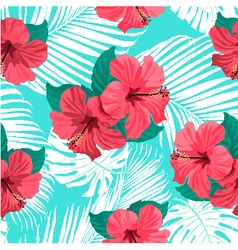 Tropical flowers and palm leaves vector