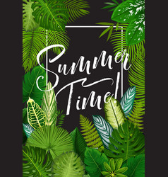 Tropical summer holiday banner exotic palm leaf vector
