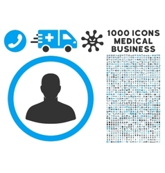 User Icon with 1000 Medical Business Pictograms vector image