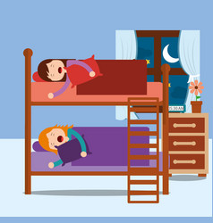 young girls asleep in bunk bed in night bedroom vector image