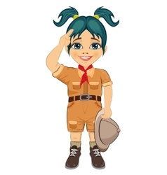 Young happy boy scout girl doing a hand sign vector image