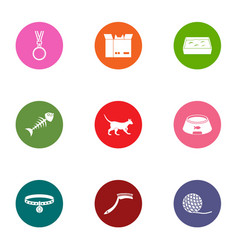 Zoological icons set flat style vector