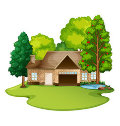 brick house in the lawn vector image