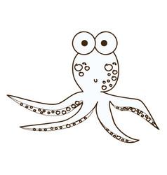 figure surprised octopus caartoon icon vector image vector image